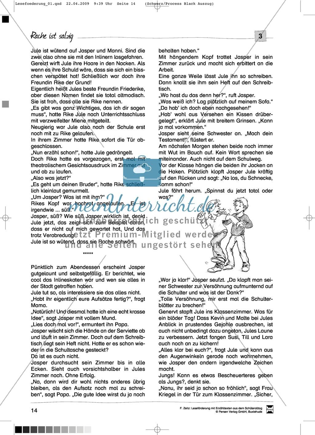 """Kurzgeschichte """"Rache ist salzig"""": Text + Übungen + Lösungen Preview 1"""