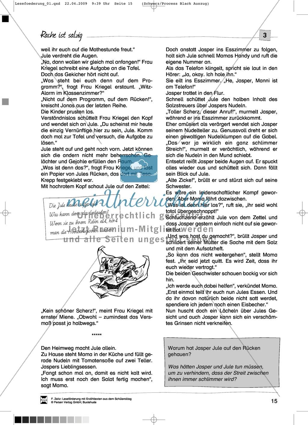 """Kurzgeschichte """"Rache ist salzig"""": Text + Übungen + Lösungen Preview 2"""