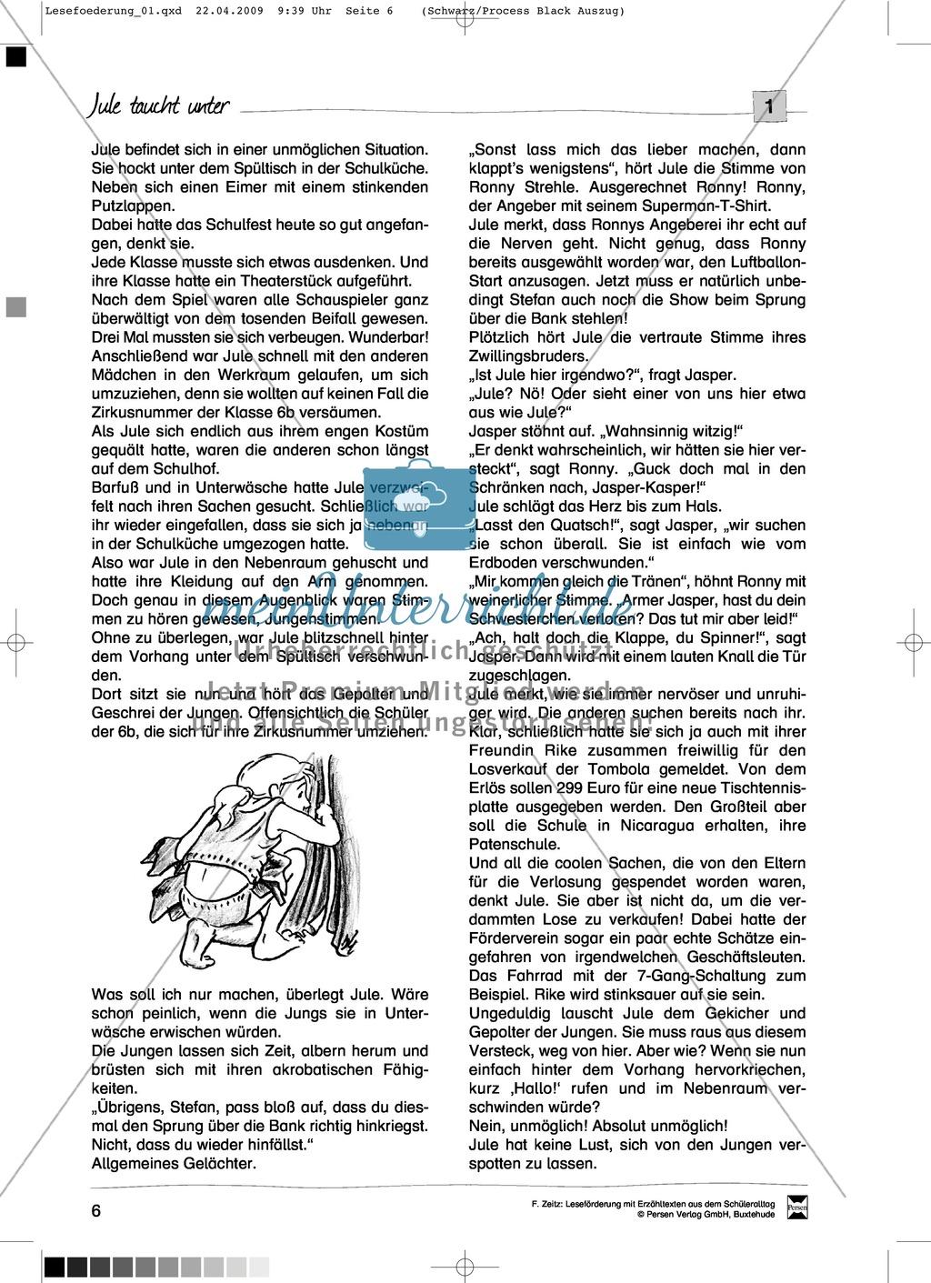 """Kurzgeschichte """"Jule taucht unter"""": Text Preview 1"""
