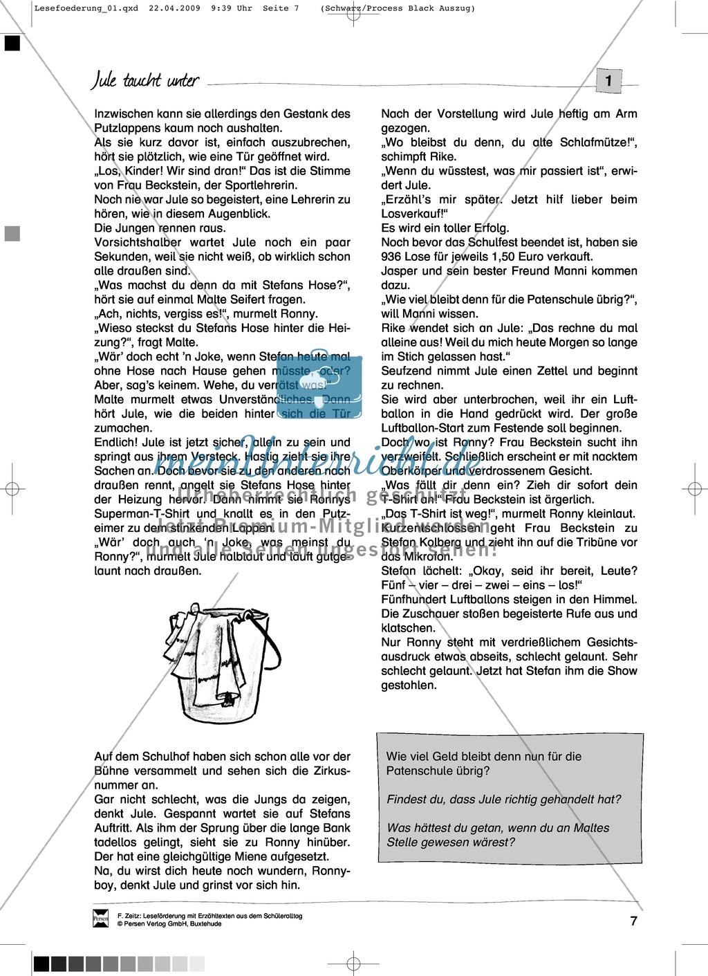 """Kurzgeschichte """"Jule taucht unter"""": Text Preview 2"""