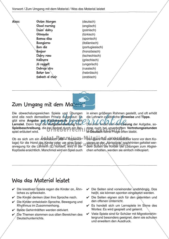 """Sprachspiele - Wortspiele: """"Sprachen lernen - Abzählreime"""" - Arbeitsblätter + Übungen Preview 2"""