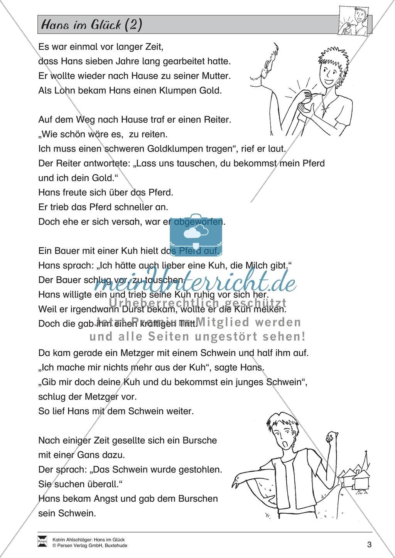 Hans im Glück: Text (mittel) und Aufgaben - meinUnterricht
