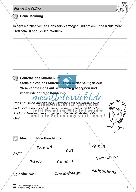 Hans im Glück: Text (mittel) und Aufgaben Preview 4