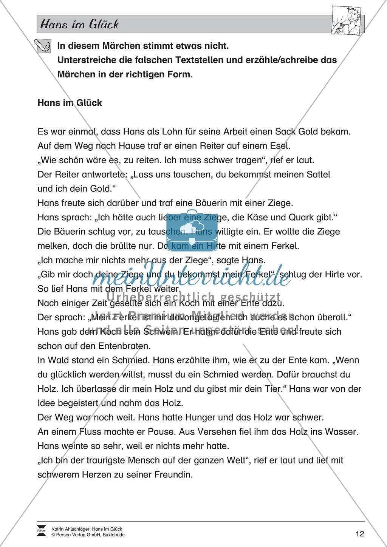 Hans im Glück: Text (mittel) und Aufgaben Preview 7