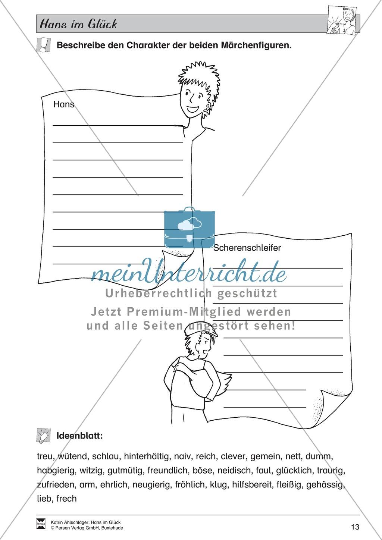 Hans im Glück: Text (mittel) und Aufgaben Preview 8