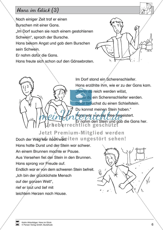 Hans im Glück: Text (schwer) Preview 2