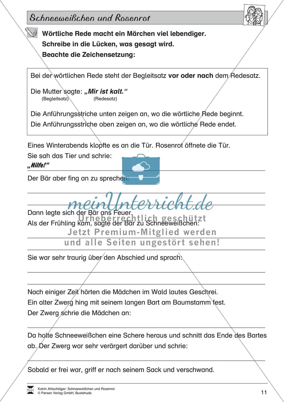 Schneeweißchen und Rosenrot: Lesetext und Arbeitsblätter Preview 9