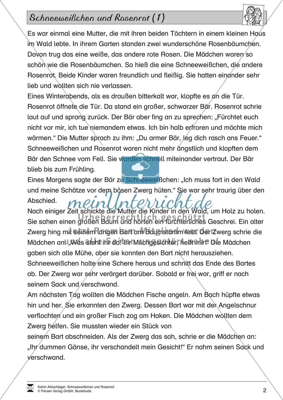 Schneeweißchen und Rosenrot: Lesetext und Arbeitsblätter Preview 0
