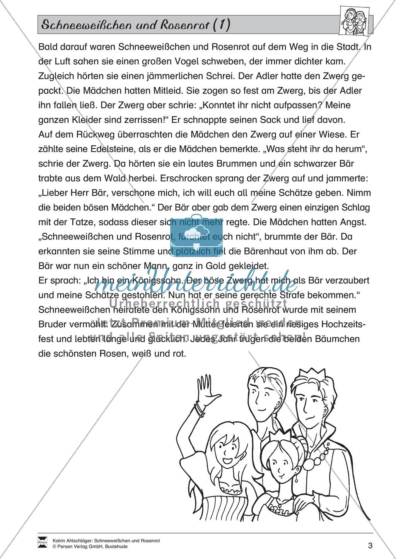 Schneeweißchen und Rosenrot: Lesetext und Arbeitsblätter Preview 1