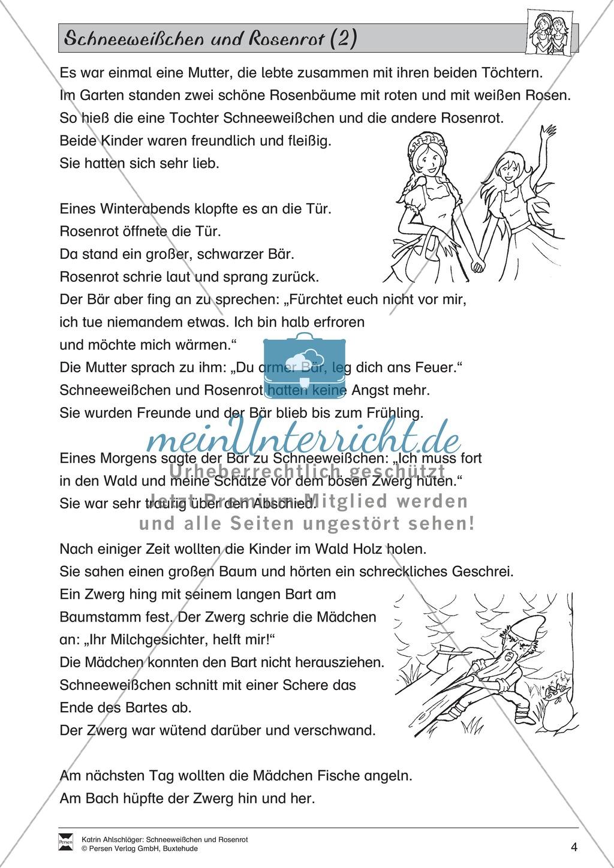 Schneeweißchen und Rosenrot: Lesetext und Arbeitsblätter Preview 2