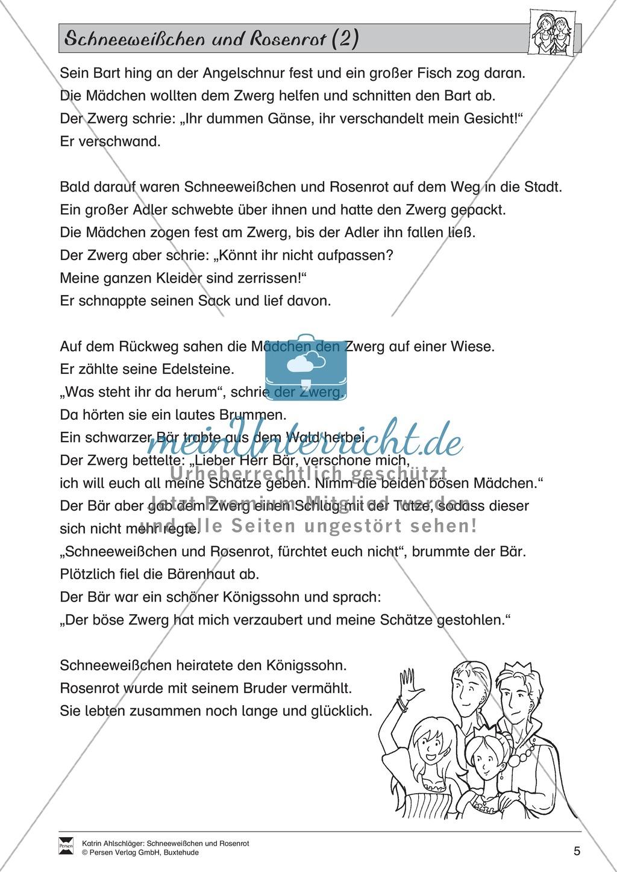 Schneeweißchen und Rosenrot: Lesetext und Arbeitsblätter Preview 3