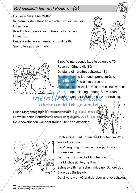 Schneeweißchen und Rosenrot: Lesetext und Arbeitsblätter Preview 4