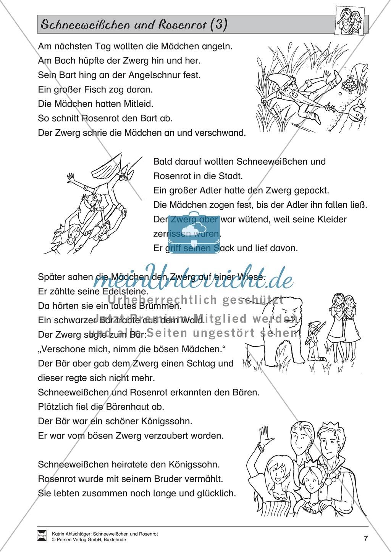 Schneeweißchen und Rosenrot: Lesetext und Arbeitsblätter Preview 5