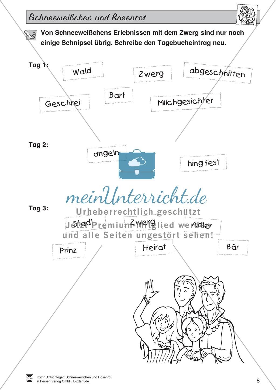 Schneeweißchen und Rosenrot: Lesetext und Arbeitsblätter Preview 6