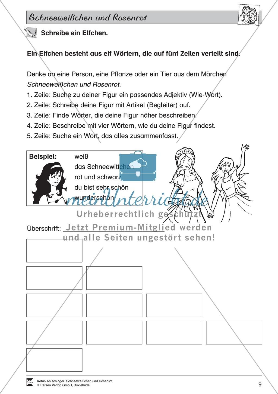 Schneeweißchen und Rosenrot: Lesetext und Arbeitsblätter Preview 7