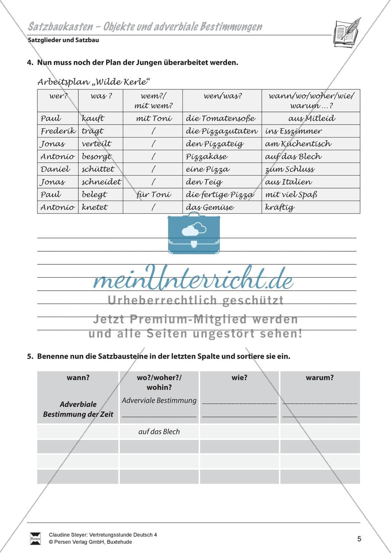 Satzglieder - Satzbau: