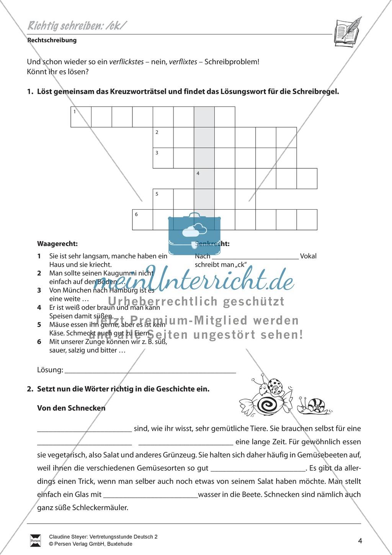 Zeitenfolge Deutsch Arbeitsblatt : Rechtschreibung quot ck arbeitsblätter Übungen