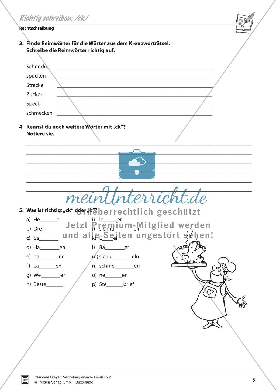 """Rechtschreibung: """"ck"""" - Arbeitsblätter + Übungen + Lösungen Preview 2"""