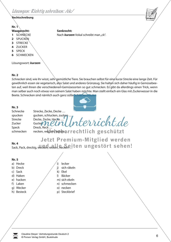 """Rechtschreibung: """"ck"""" - Arbeitsblätter + Übungen + Lösungen Preview 3"""