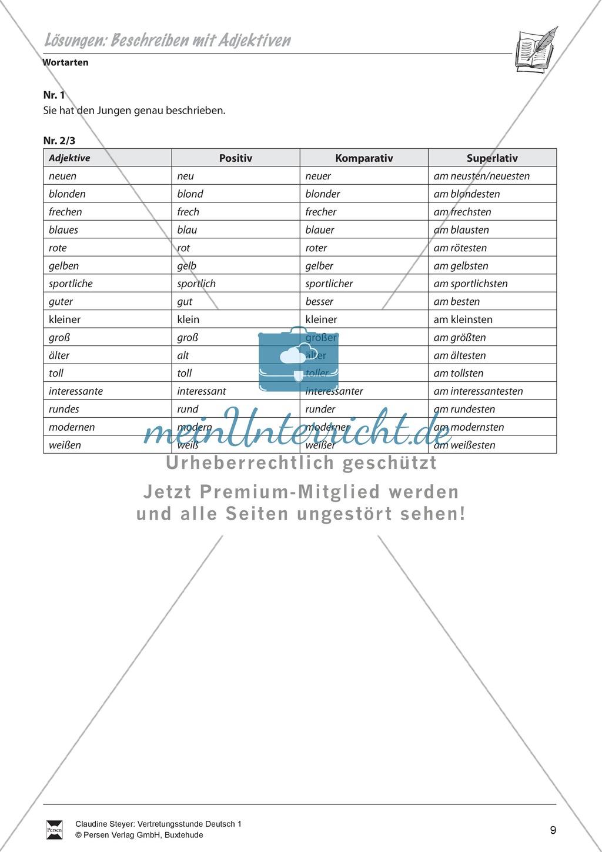 """Wortarten: """"Beschreiben mit Adjektiven"""" - Arbeitsblätter + Übungen + Lösungen Preview 3"""