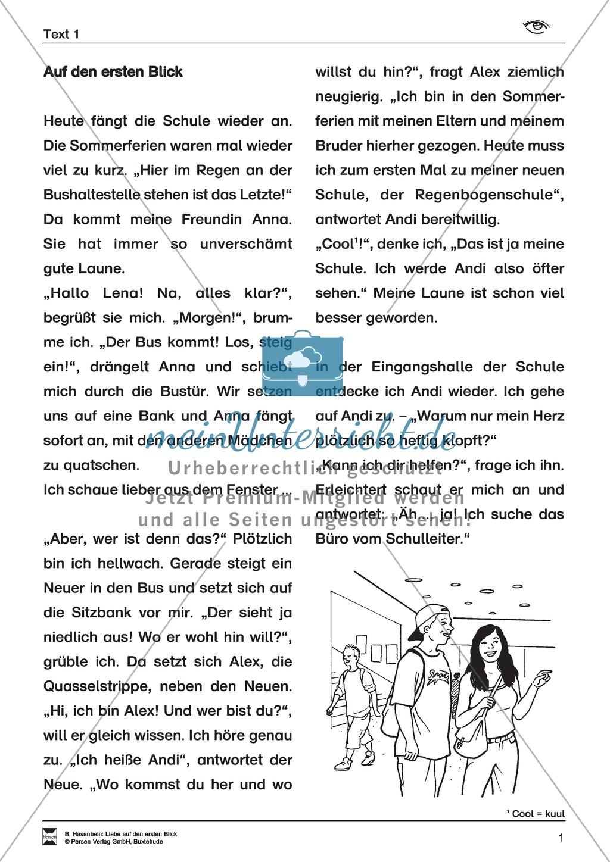 Leseförderung: Liebe auf den ersten Blick: Lesetext 1 mit Aufgaben Preview 0