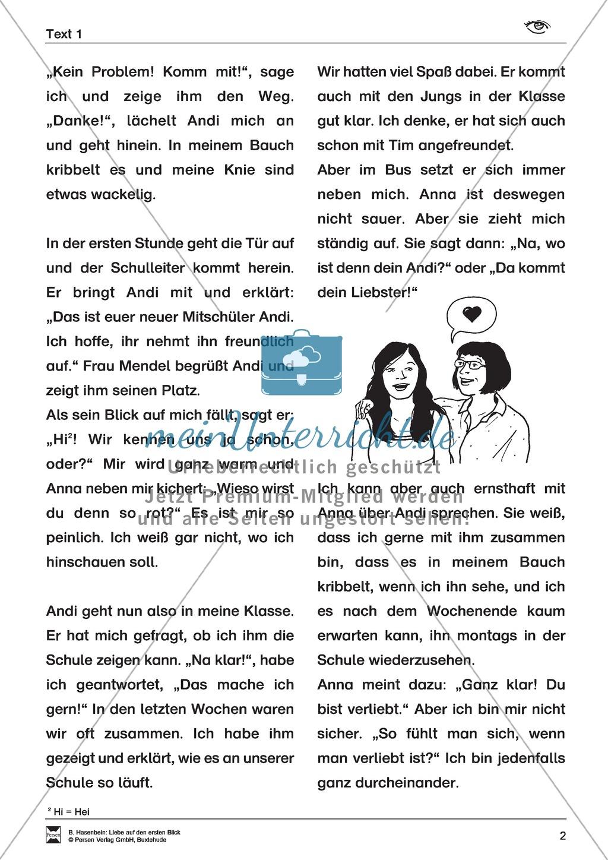 Leseförderung: Liebe auf den ersten Blick: Lesetext 1 mit Aufgaben Preview 1