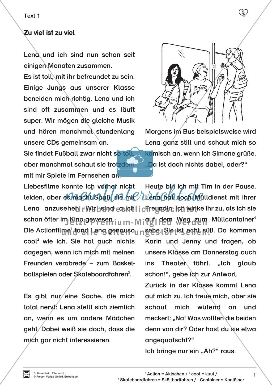 """Lesetext 1: Thema """"Eifersucht"""" - Aufgaben + Lückentext Preview 1"""