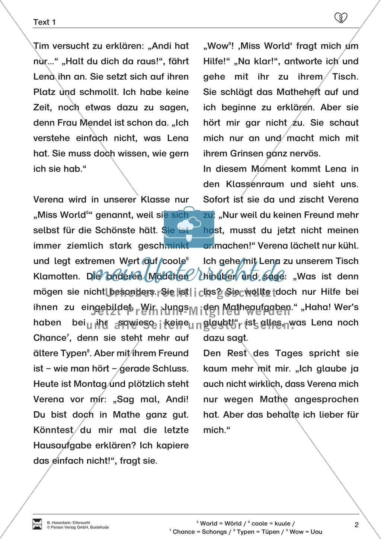 """Lesetext 1: Thema """"Eifersucht"""" - Aufgaben + Lückentext Preview 2"""