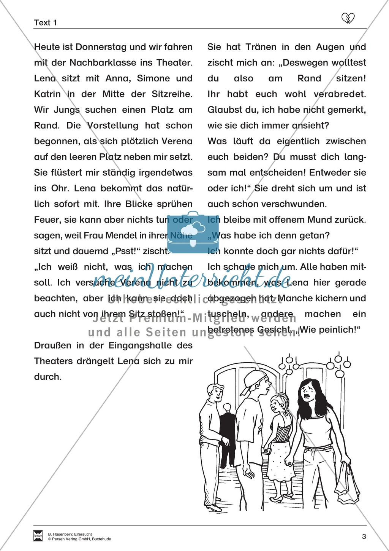 """Lesetext 1: Thema """"Eifersucht"""" - Aufgaben + Lückentext Preview 3"""