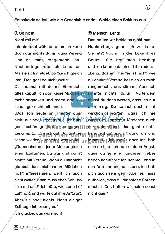 """Lesetext 1: Thema """"Eifersucht"""" - Aufgaben + Lückentext Preview 4"""