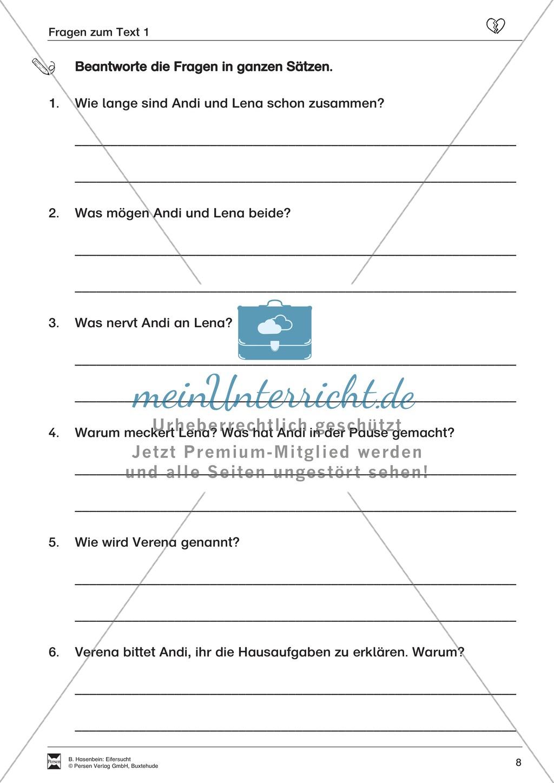 """Lesetext 1: Thema """"Eifersucht"""" - Aufgaben + Lückentext Preview 5"""