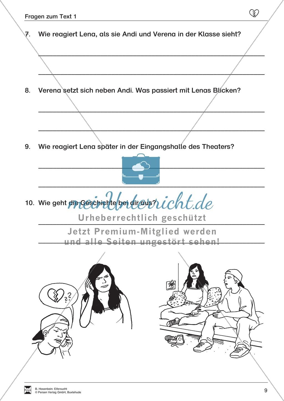 """Lesetext 1: Thema """"Eifersucht"""" - Aufgaben + Lückentext Preview 6"""