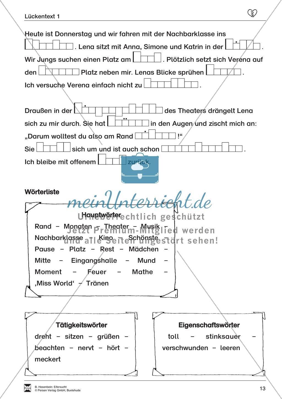 """Lesetext 1: Thema """"Eifersucht"""" - Aufgaben + Lückentext Preview 8"""