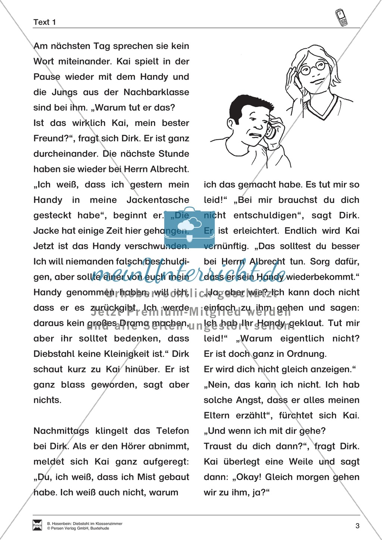 "Lesetexte Lesegeschichten: ""Diebstahl im Klassenzimmer"" Binnendifferenzierung Stufe 2 - Text + Aufgaben + Lückentext Preview 3"