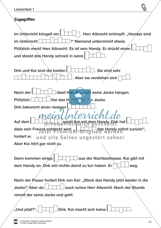 "Lesetexte Lesegeschichten: ""Diebstahl im Klassenzimmer"" Binnendifferenzierung Stufe 2 - Text + Aufgaben + Lückentext Preview 7"