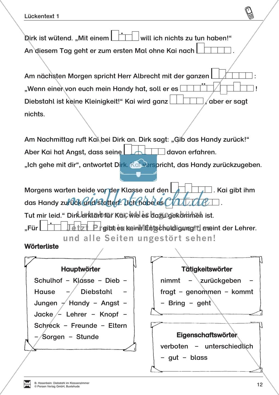 "Lesetexte Lesegeschichten: ""Diebstahl im Klassenzimmer"" Binnendifferenzierung Stufe 2 - Text + Aufgaben + Lückentext Preview 8"