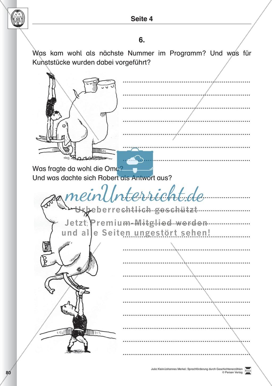 Sprachförderung: Der Zirkusbesuch: Lesetext, Hinweise zum Erzählen und Schreiben und Arbeitsblätter Preview 4