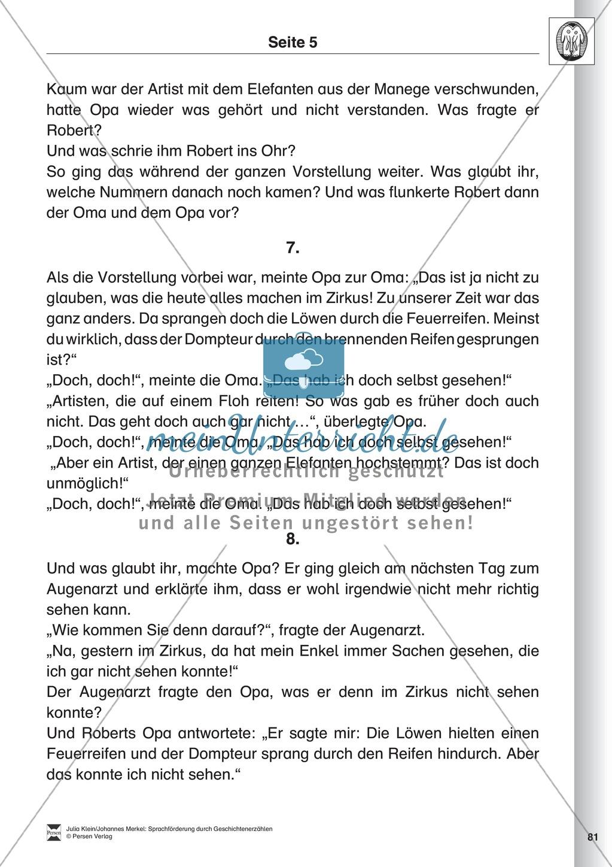 Sprachförderung: Der Zirkusbesuch: Lesetext, Hinweise zum Erzählen und Schreiben und Arbeitsblätter Preview 5