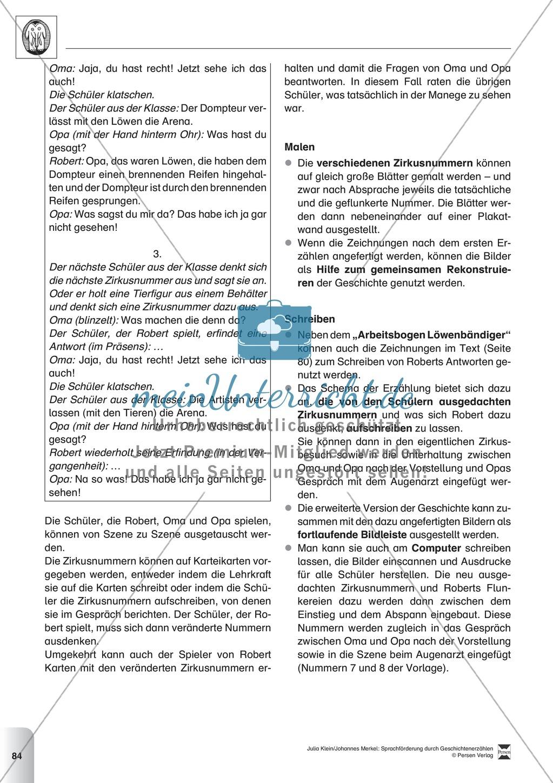 Sprachförderung: Der Zirkusbesuch: Lesetext, Hinweise zum Erzählen und Schreiben und Arbeitsblätter Preview 8