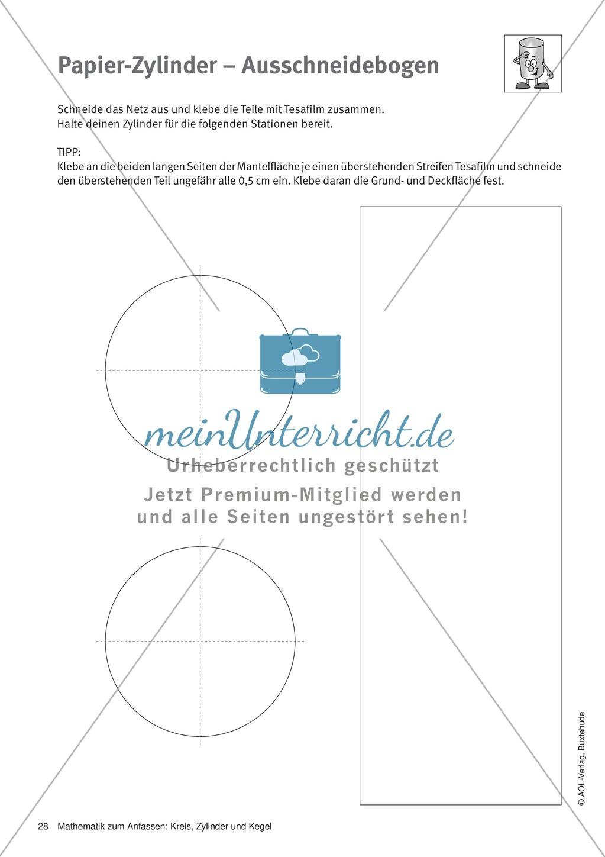 Papier-Zylinder-Ausschneidebogen: Arbeitsblatt - meinUnterricht