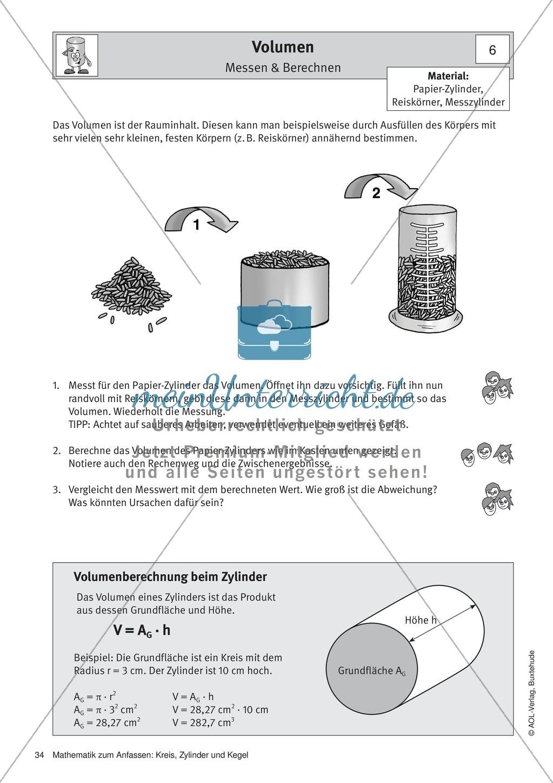 Volumen eines Zylinders: Übungen + Lösungen - meinUnterricht