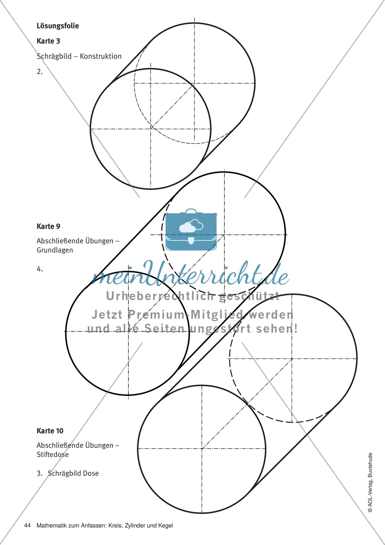 Abschließende Übungen zum Zylinder: Übungen + Lösungen + ...