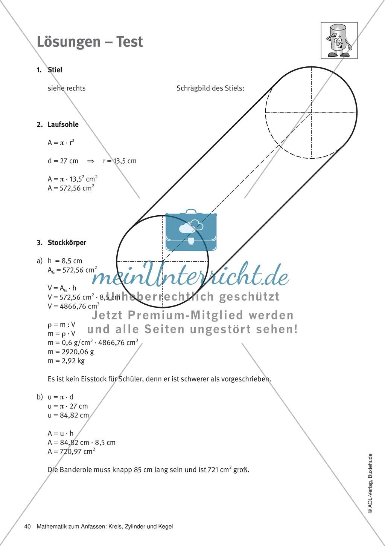 Der Zylinder: Test + Lösungen - meinUnterricht