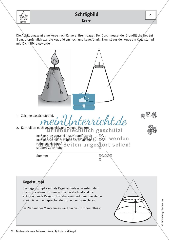 Schrägbild eines Kegels: Übungen + Lösungen + Lösungsfolie ...