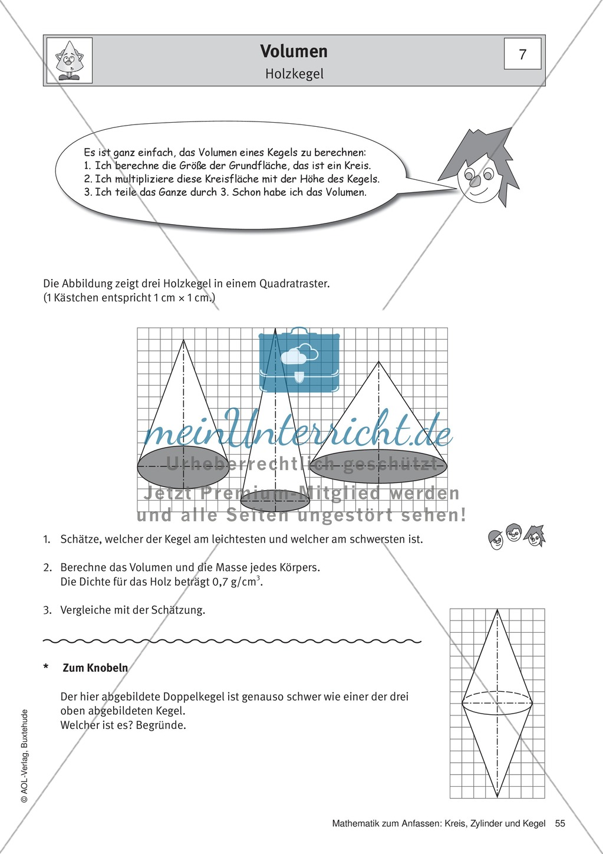 Volumen eines Kegels: Übungen + Lösungen - meinUnterricht