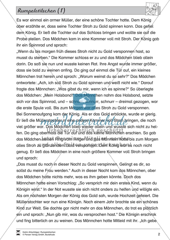 """Märchen im Unterricht: """"Rumpelstilzchen"""": Text (leicht) und Übungen Preview 1"""