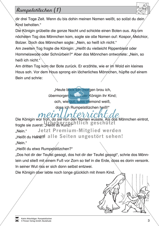 """Märchen im Unterricht: """"Rumpelstilzchen"""": Text (leicht) und Übungen Preview 2"""