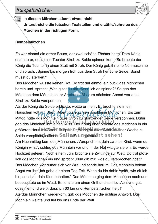 """Märchen im Unterricht: """"Rumpelstilzchen"""": Text (leicht) und Übungen Preview 5"""