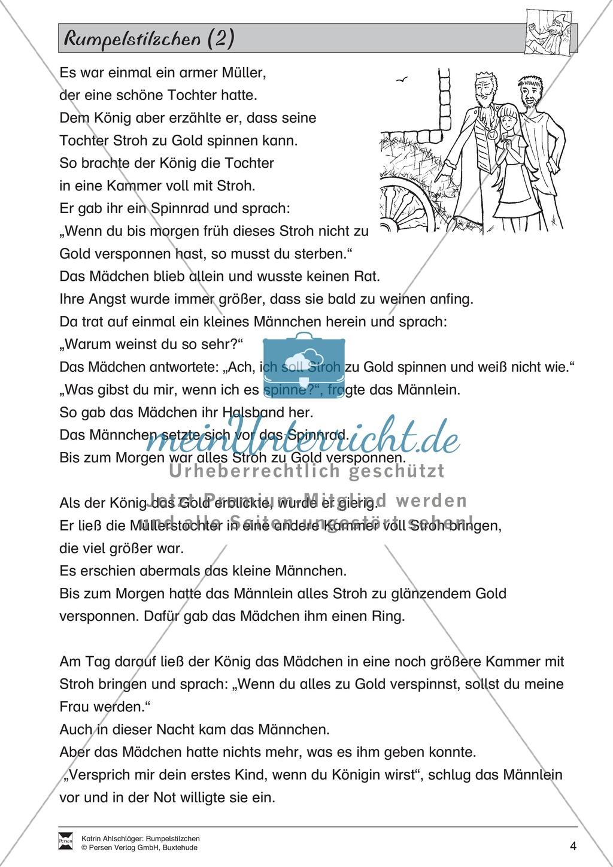 """Märchen im Unterricht: """"Rumpelstilzchen"""": Text (mittelschwer) und Übungen Preview 1"""