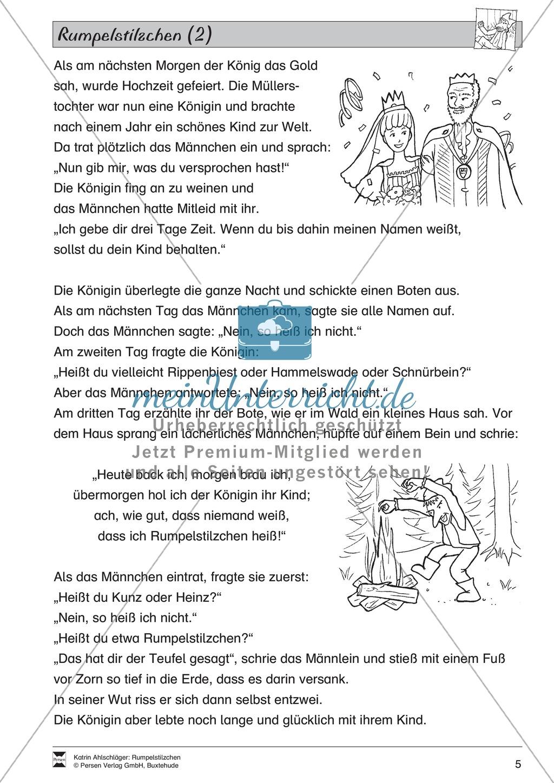 """Märchen im Unterricht: """"Rumpelstilzchen"""": Text (mittelschwer) und Übungen Preview 2"""